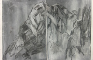 19 Diptych. Chalks on paper. 152x53cm. January 2014