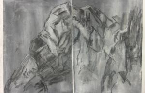 19 Diptych. Chalks on paper. 152x53cm. January 2014