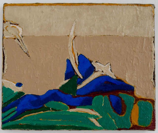 Clare Thatcher,Feature of landscape1, oil on canvas, 25x35cm, 2017