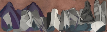 Study for A History of Rocks, 2016. Coloured chalk on paper. 75x240cm.