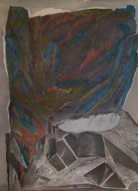 Rock Formation I. Graphite & soft pastel on paper. 200x150cm