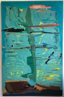 Feature of Landscape, oil & pigment on plywood panels, 190.5x122cm, 2017